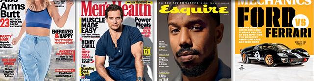 Women's Health, Men's Health, Esquire, Popular Mechanics