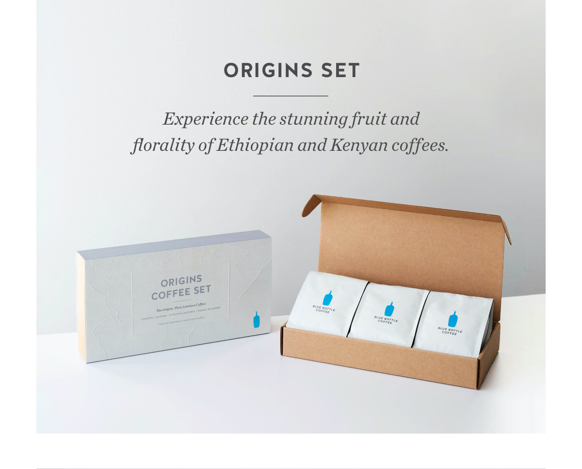 Origins Set. Experience the stunning fruit and florality of Ethiopian and Kenyan coffees.
