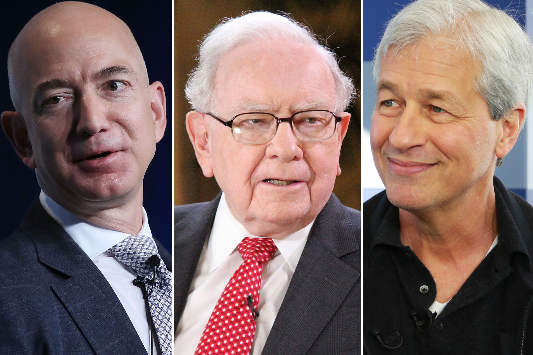 Amazon's Jeff Bezos, Berkshire Hathaway's Warren Buffett, JPMorgan Chase's Jamie Dimon