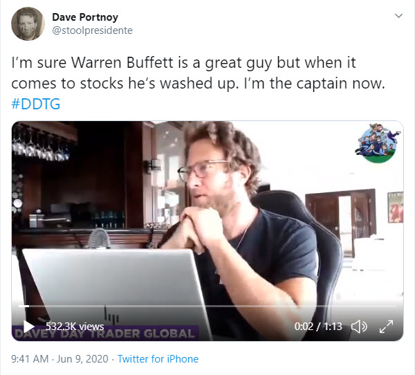 Dave Portnoy tweet: I'm sure Warren Buffett is a great guy but when it comes to stocks he's washed up. I'm the captain now.''