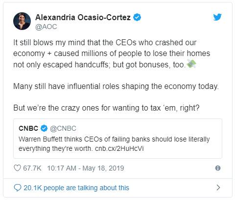 Alexandria Ocasio-Cortez tweet on bank CEOs