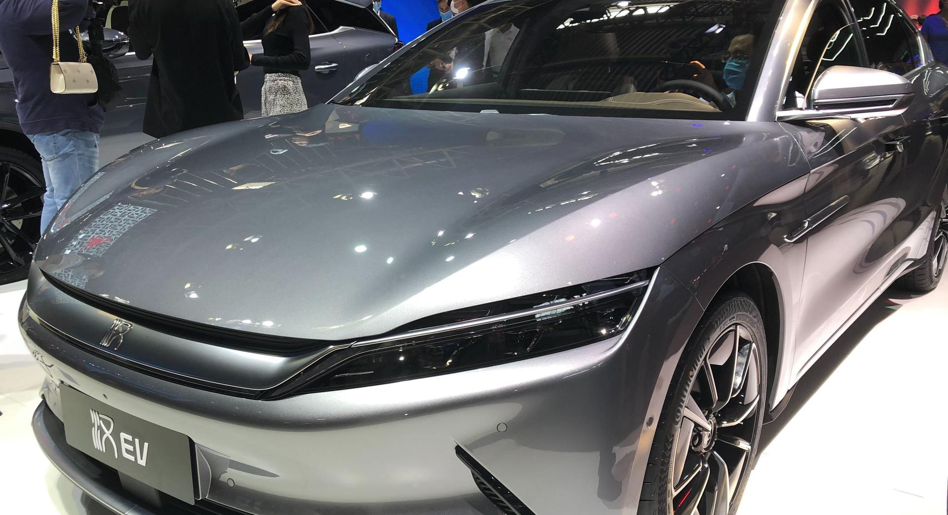 Chinese battery and electric vehicle maker BYD shows off a model of its Han EV series at the 2020 Beijing auto show. Photo:  Evelyn Cheng | CNBC