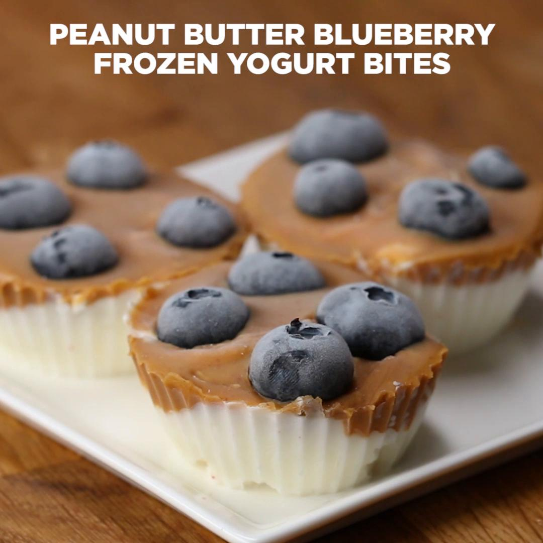 Peanut Butter Blueberry Frozen Yogurt Bites