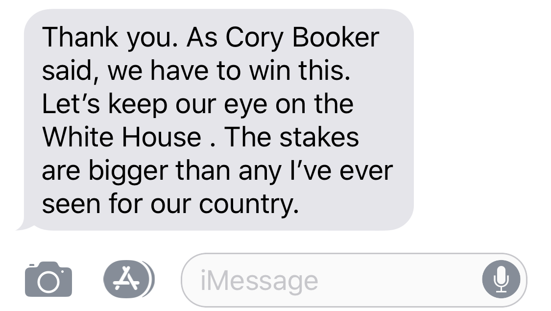 HOWARD DEAN: Thank you. As Cory Booker said, we have to win this. Let's keep our eye on the White House. The stakes are bigger than any I've ever seen for our country.