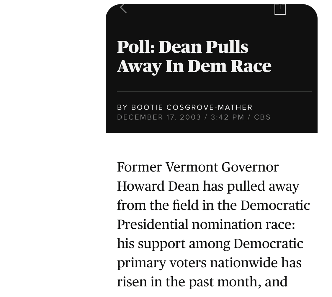 IMAGE DESCRIPTION: Screenshot of an article from December 17, 2003 by Bootie Cosgrove-Mather reading, Poll: Dean Pulls Away in Dem Race.