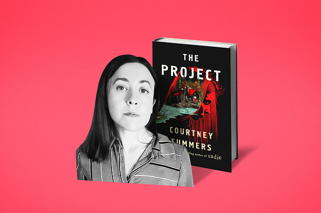 Author photo of Courtney Summers superimposed over her book, The Project
