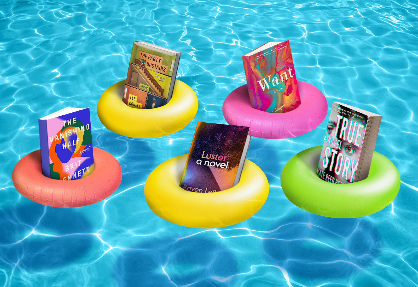 Summer books in pool floats