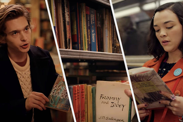 Screenshots of actor and actress from ''Dash & Lily'' holding books