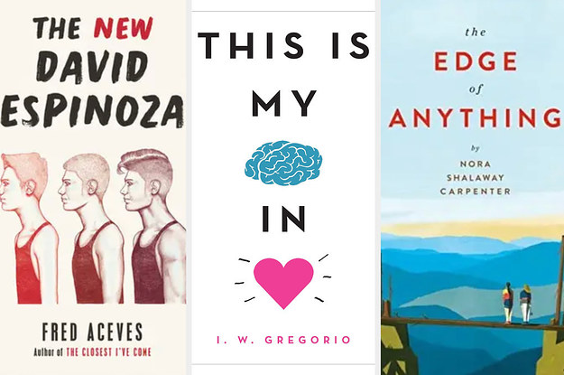 Book covers: The New David Espinoza; This Is My Brain In Love; The Edge of Anything