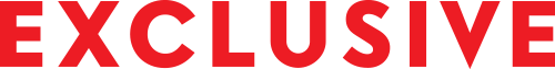 Image contains red Exclusive type