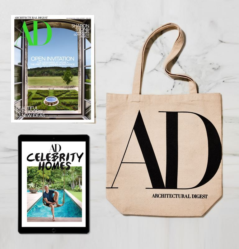 (image) AD April Cover, Celebrity Homes Special Issue, and Tote
