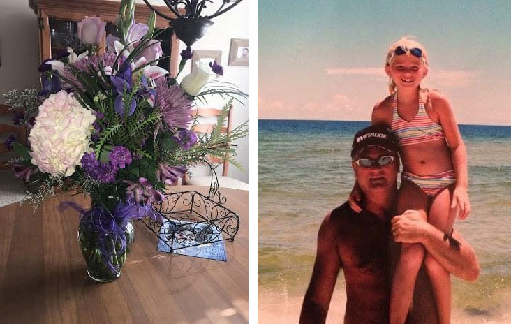 flowers next to photo of girl and dad