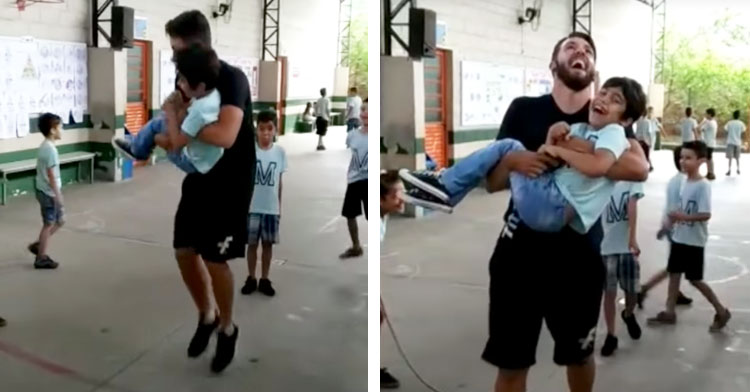 man holding child and jumping rope
