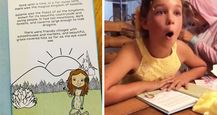 surprised girl reading book