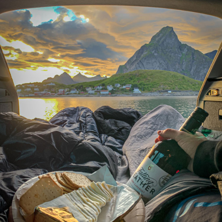 cheese and wine by mountains