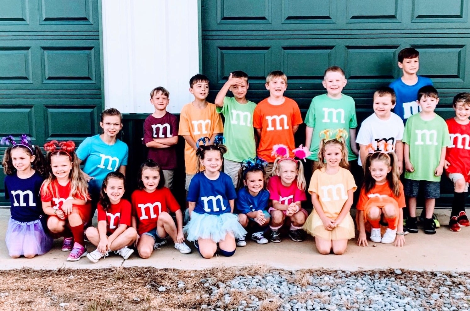 kids in matching M&M costumes